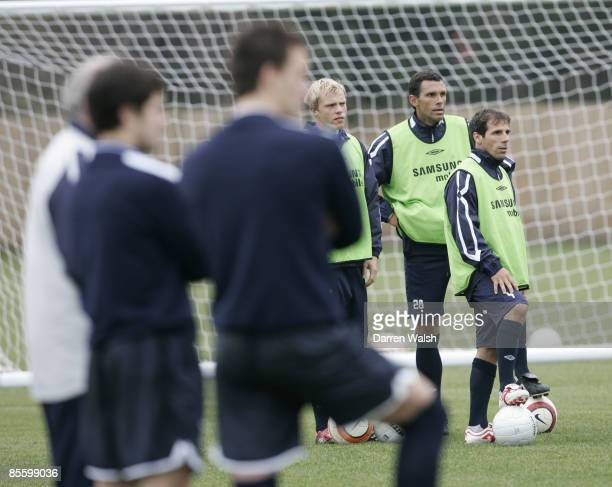 Ex Chelsea legends Gianfranco Zola and Gus Poyet train with Chelsea today watched by John Terry and Joe Cole ahead of tomorrows match at Macclesfield...