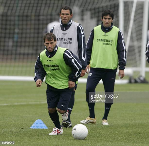 Ex Chelsea legends Gianfranco Zola and Gus Poyet train with Chelsea today ahead of tomorrows match at Macclesfield Town