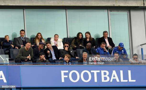 Ex Chelsea player John Terry actor Mark Strong actor Channing Tatum and former chairman of Arsenal David Dein are seen in the stands during the...