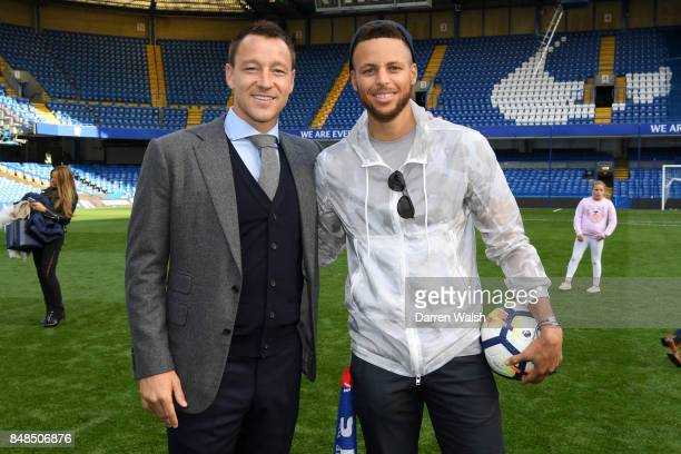 Ex Chelsea player John Terry with basketball player Steph Curry after the Premier League match between Chelsea and Arsenal at Stamford Bridge on...