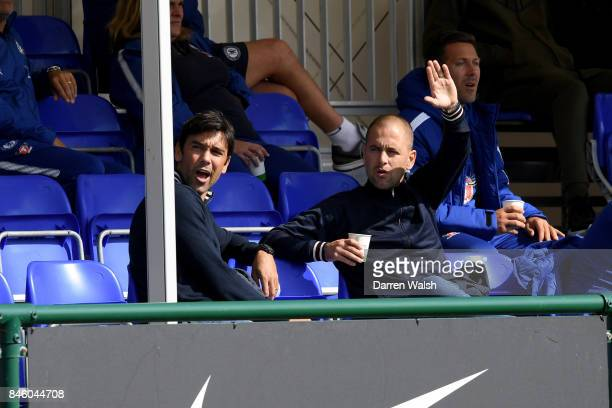 Ex Chelsea players Paulo Ferreira Joe Cole during the UEFA Youth Champions League group C match between Chelsea FC and Qarabag FK at Chelsea Training...