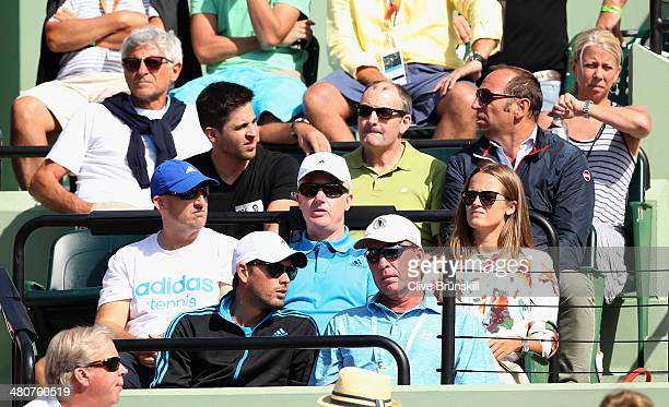 Ex coach Ivan Lendl sits in the Murray player box with current coach Danny Valverdu as they both watch Andy Murray of Great Britain in action against...