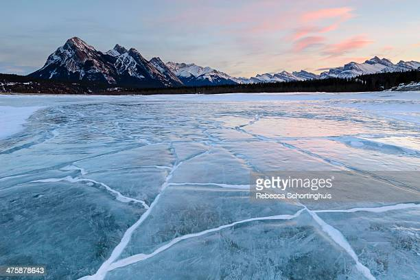 Ex Coelis mountain and cracked ice, Abraham Lake