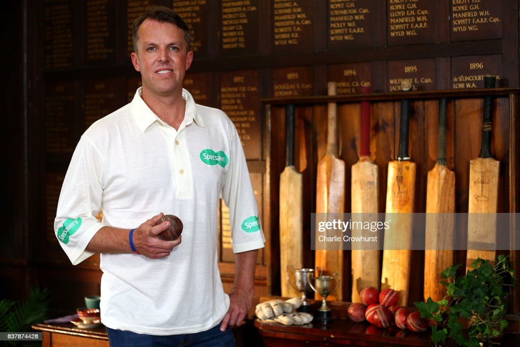 Ex England bowler Graeme Swann poses for a photo during filming of the Specsavers advert The Umpires Strikes Back on August 23, 2017 in London, England.