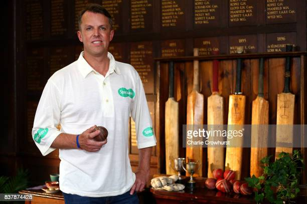 Ex England bowler Graeme Swann poses for a photo during filming of the Specsavers advert The Umpires Strikes Back on August 23 2017 in London England