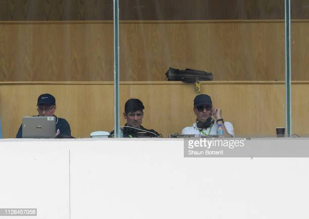 Ex England captain Alastair Cook looks on alongside Jonathan Agnew and Adam Mountford in the Test Match Special Box during Day One of the 2nd Test...