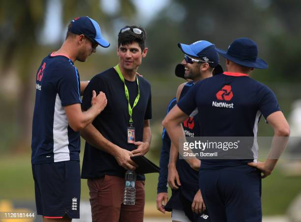 BARBUDA JANUARY 3 Ex England captain Alastair Cook talks with bowler Stuart Broad during a net session at Sir Vivian Richards Stadium on January 30...