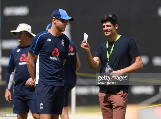 BARBUDA JANUARY 30 Ex England captain Alastair Cook talks with bowler Stuart Broad during a net session at Sir Vivian Richards Stadium on January 30...