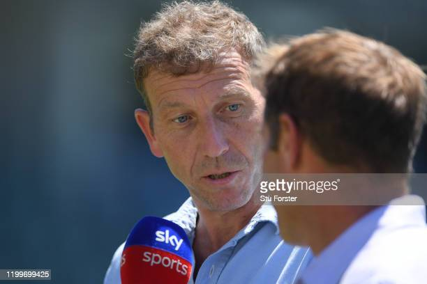 Ex England captain and Sky Sports commentator Michael Atherton speaks to Ian Ward during England nets ahead of the 3rd Test Match against South...