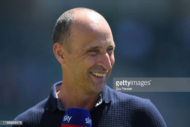 Ex England captain and Sky Sports commentator Nasser Hussain reacts during England nets ahead of the 3rd Test Match against South Africa at St...