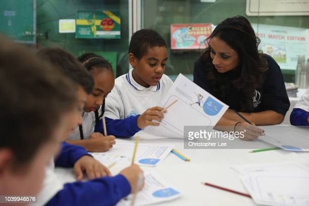 Ex England Cricketer Isha Guha takes part in the classroom lesson during the Cricket World Cup Schools Programme at Lord's Cricket Ground on...
