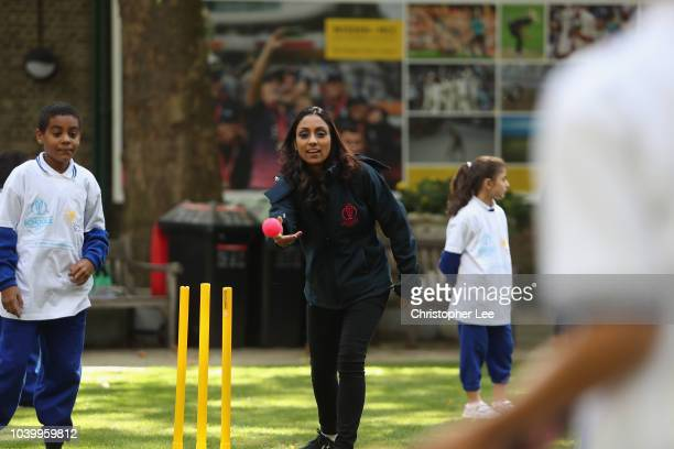 Ex England Cricketer Isha Guha takes part in the lesson during the Cricket World Cup Schools Programme at Lord's Cricket Ground on September 25 2018...