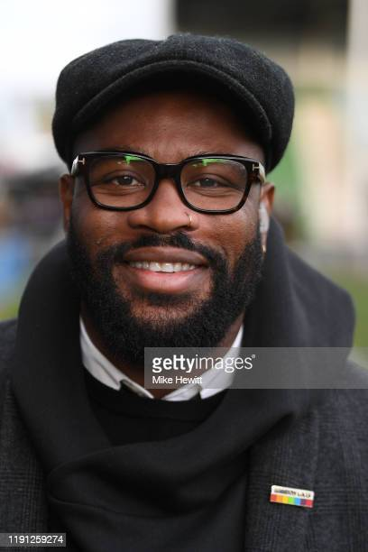 Ex England International and BT Sport presenter Ugo Monye wears a Rainbow Laces badge ahead of the Gallagher Premiership Rugby match between...