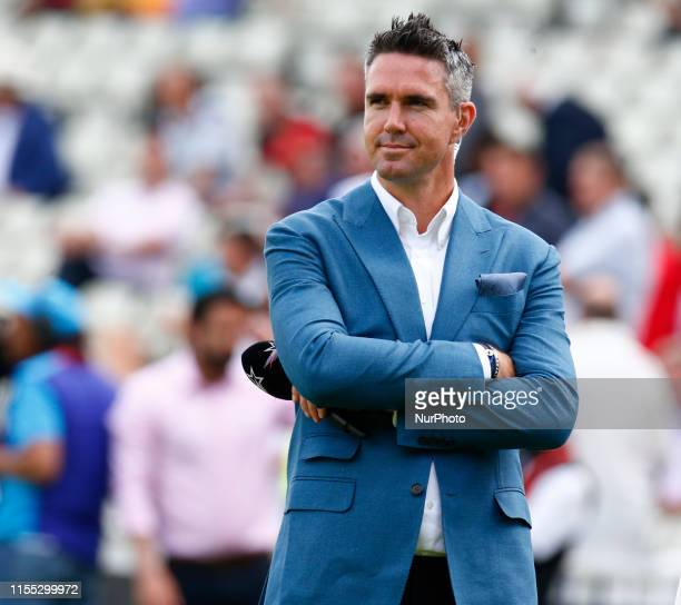 Ex England player Kevin Pietersen during ICC Cricket World Cup Semi-Final between England and Australia at the Edgbaston on July 11, 2019 in...