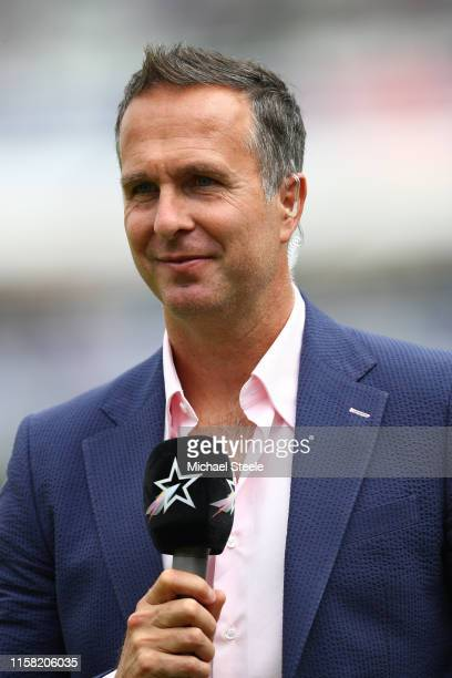 Ex England player Michael Vaughan on media duty during the Group Stage match of the ICC Cricket World Cup 2019 between England and Australia at Lords...