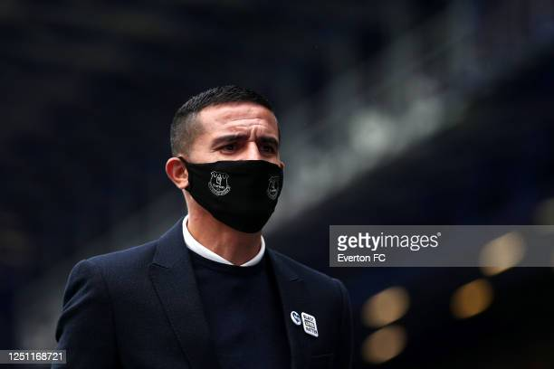 Ex Everton striker Tim Cahill looks on during the Premier League match between Everton FC and Liverpool FC at Goodison Park on June 21, 2020 in...