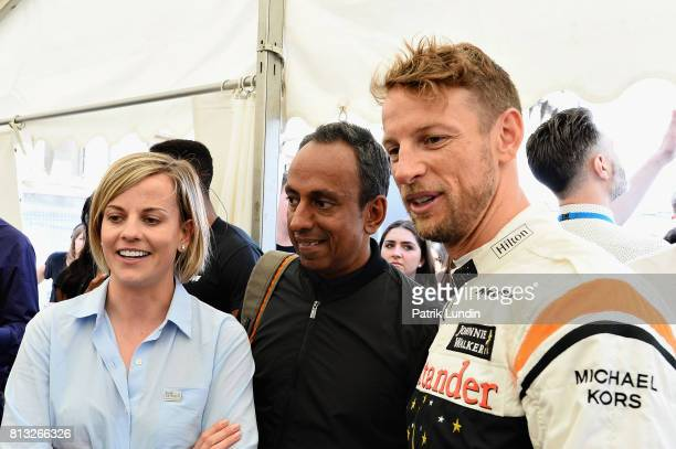 Ex F1 World ChampionJenson Button of Great Britain and McLaren Honda with Susie Wolff at the Dare to be Different stand during F1 Live London at...