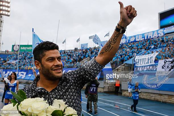 Ex FC Zenit St Petersburg player Hulk waves goodbye to fans in the halftime of the Russian Football League match between FC Zenit St Petersburg and...