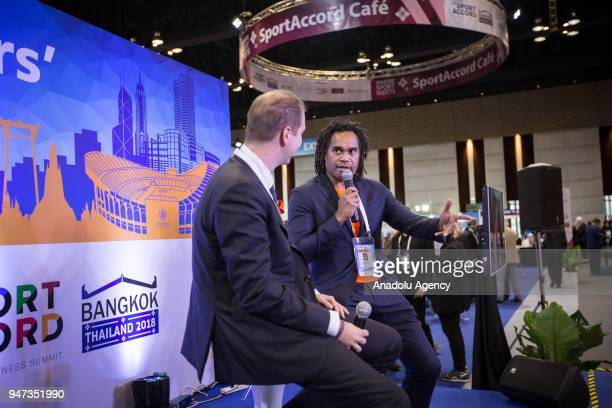 Ex football player and Global ambassador of Federation Internationale de Teqball Christian Karembeu seen speaking during an interview for the third...