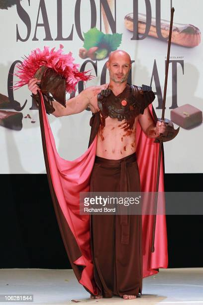 Ex Football player Franck Leboeuf dressed by Vincent Guerlais and Les Garcons walks the runway at the Salon Du Chocolat 2010 Opening Night at the...