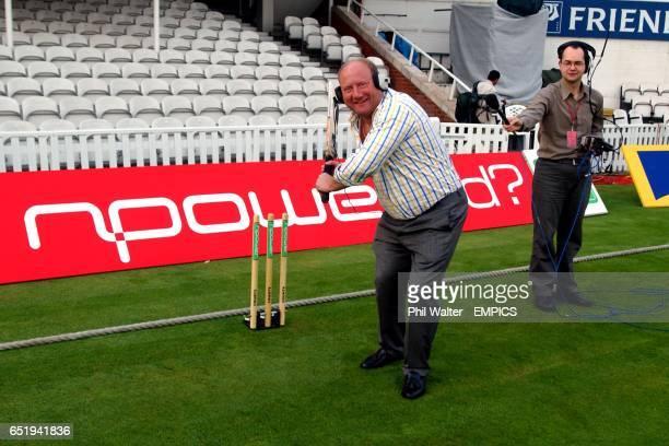 Ex footballer Alan Brazil tries his hand at batting