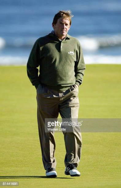 Ex footballer, Kenny Dalglish looks on from the fifth green during the second round of the Dunhill Links pictured at Kingsbarns Golf Club on October...