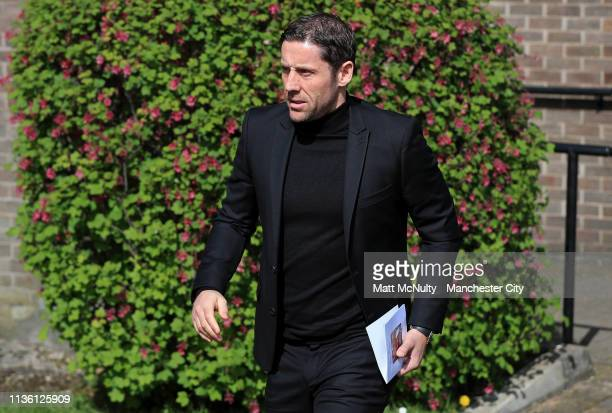 Ex footballer Michael Brown leaves the service at the Funeral of Manchester City Life President Bernard Halford at St Mary's Church in Manchester on...