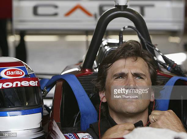 Ex Formula 1 and CART racing driver Alex Zanardi of Italy prepares to drive his specially adapted Champ Car on May 11 2003 at the Euro Speedway in...