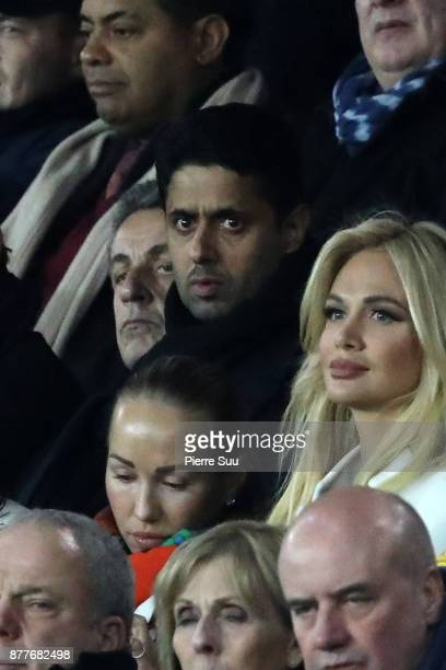Ex French President Nicolas Sarkozy and Nasser AlKhelaifi are seen during the UEFA Champions League group B match between Paris SaintGermain and...