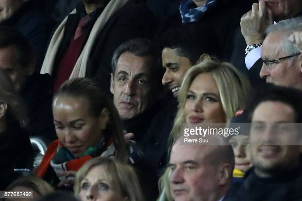Ex French President Nicolas Sarkozy is seen during the UEFA Champions League group B match between Paris SaintGermain and Celtic FC at Parc des...