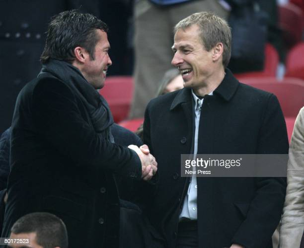Ex German internaionals Lothar Mattheus and Jurgen Klinsmann attend the Serie A match between Inter and Reggina at the Stadio on San Siro March 8...