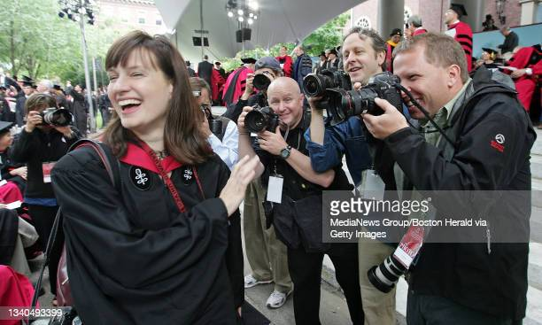 Ex Herald employee and newly graduated Master of the Finer Arts Stephanie Mitchell is harassed by the local media at the Harvard University...