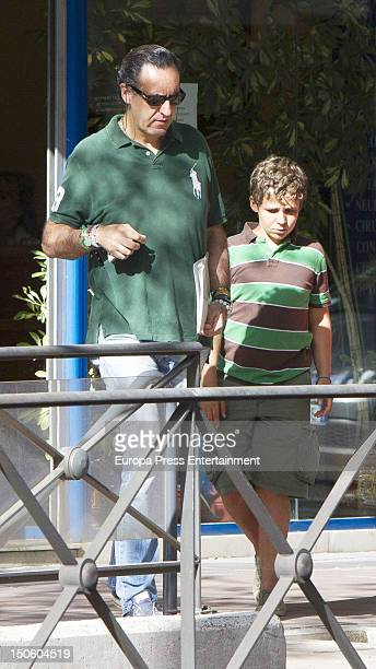 Ex husband of princess Elena of Spain Jaime de Marichalar and his son Felipe Juan Froilan Marichalar are seen on August 7 2012 in Madrid Spain