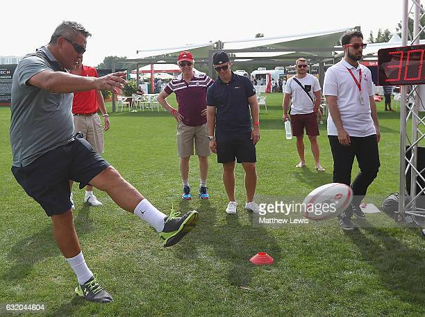 Ex International rugby player Zinzan Brooke in action in the Championship Village during day one of the Abu Dhabi HSBC Championship at Abu Dhabi Golf...