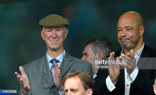 Ex Ireland manager Jack Charlton and former player Paul McGrath applaud the anthem before the International friendly match between Republic of...