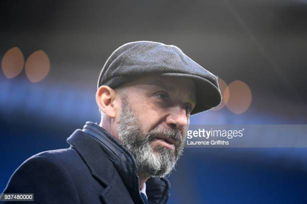 Ex Italian International player Gianluca Vialli looks on prior to the International Friendly match between Italy and Argentina at Etihad Stadium on...