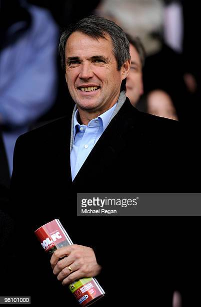 Ex Liverpool player and BBC Pundit Alan Hansen looks on prior to the Barclays Premier League match between Liverpool and Sunderland at Anfield on...