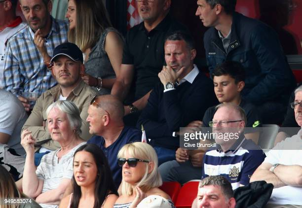 Ex Manchester United footballer Ryan Giggs a joint owner of Salford City watches his team play during the National League North match between Salford...