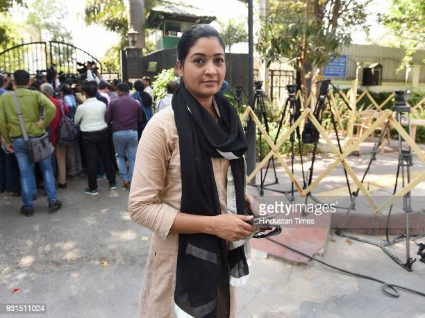 Ex MLA Alka Lamba speaks to media during the all party meeting regarding the sealing issue at chief minister's residence on March 13 2018 in New...