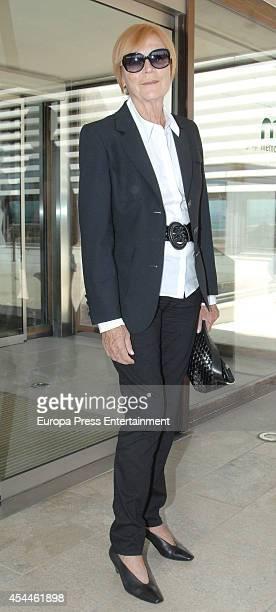 Ex model Romy attends the funeral for the Spanish designer Manuel Pertegaz on August 31 2014 in Barcelona Spain
