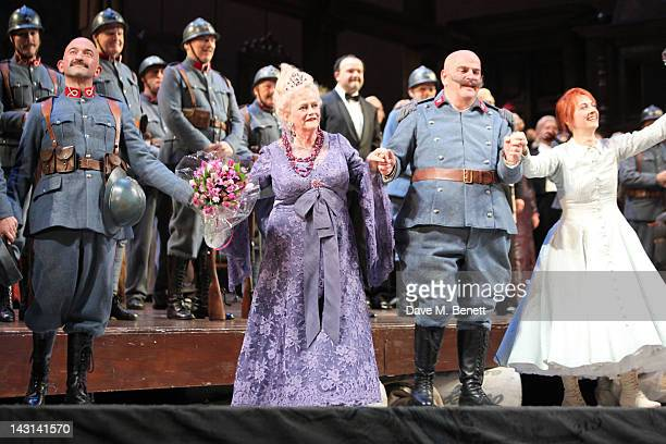 Ex MP Ann Widdecombe during the curtain call for 'La Fille Du Regiment' at the Royal Opera House on April 19 2012 in London England