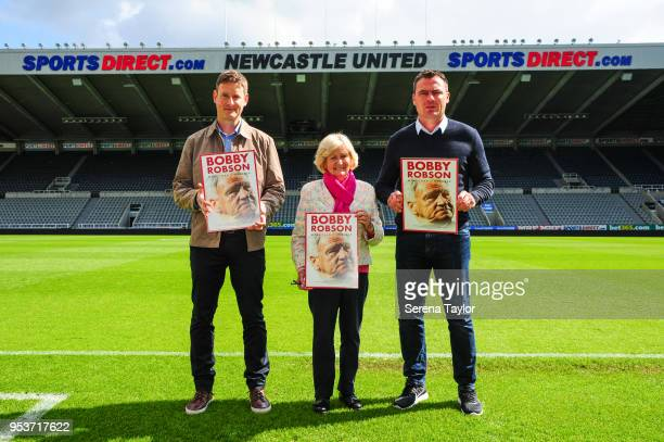Ex Newcastle goakeeper Steve Harper The Times North East Football Correspondent George Caulkin and Lady Elsie Robson pose for photos during a...