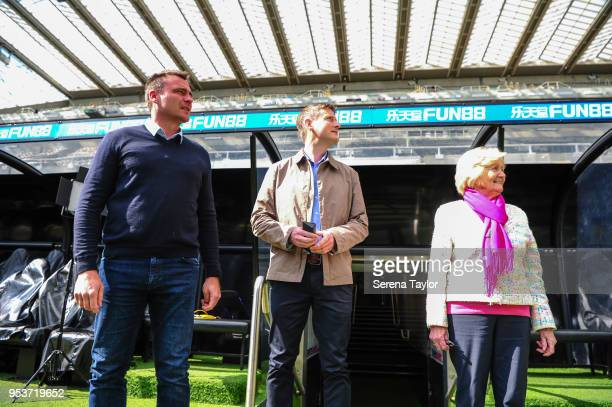 Ex Newcastle goakeeper Steve Harper The Times North East Football Correspondent George Caulkin and Lady Elsie Robson walk out of the tunnel during a...