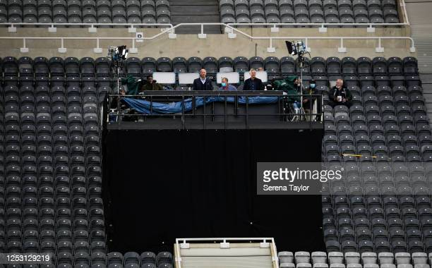 Ex Newcastle Legend Alan Shearer watches with Gary Lineker in a makeshift studio during the FA Cup Quarter Final match between Newcastle United and...