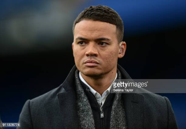 Ex Newcastle player Jermain Jenas during The FA Cup Fourth Round between Chelsea and Newcastle United at Stamford Bridge on January 28 in London...