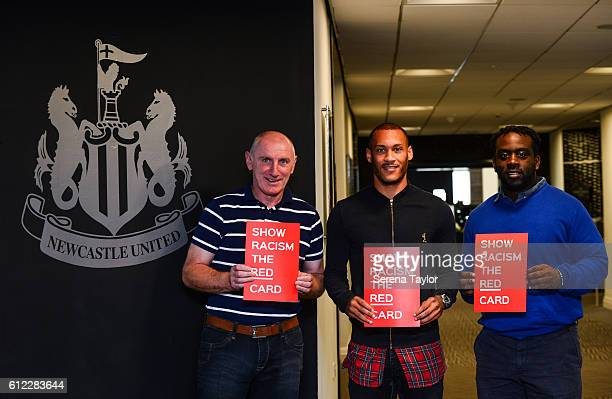 Ex Newcastle Players John Anderson and Olivier Bernard pose with current player Yoan Gouffran during a 'Show Racism the Red Card' event at StJames'...