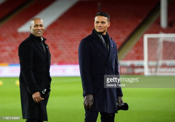 Ex Newcastle players Les Ferdinand and Jermain Jenas during the Premier League match between Sheffield United and Newcastle United at Bramall Lane on...