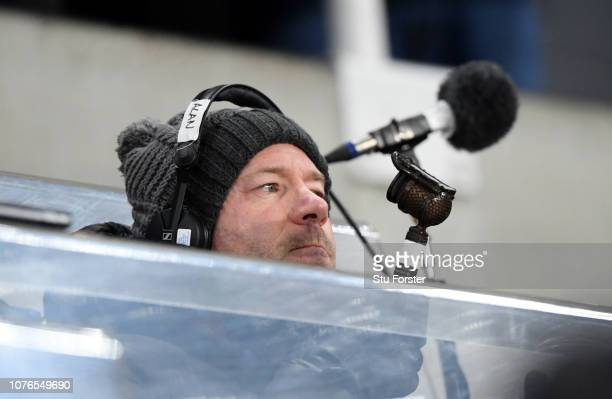 Ex Newcastle United player Alan Shearer is seen commentating prior to the Premier League match between Newcastle United and Manchester United at St...
