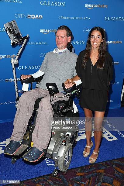 Ex NFL Player Steve Gleason and his wife Michel Varisco attend the premiere of Amazon Studios' Gleason at Regal LA Live Stadium 14 on July 14 2016 in...