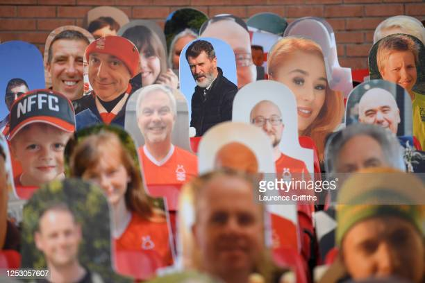 Ex Nottingham Forest player Roy Keane looks out amongst the cardboard fans profile pictures in the main stand ahead of the Sky Bet Championship match...